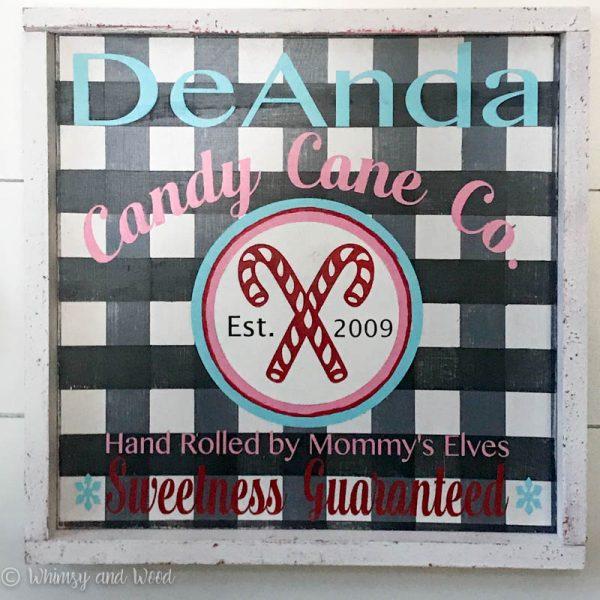 Buffalo Check plaid Candy Cane Co. Sign Christmas sign