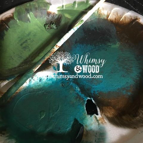 Blend Paint Colors-blended green buffet pouncing plate