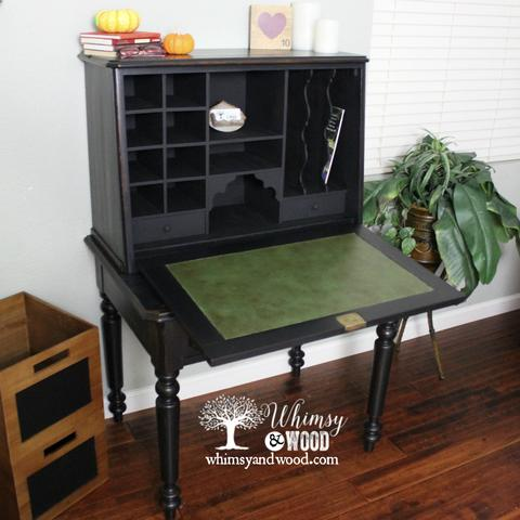 Black Antique Breakfront Desk