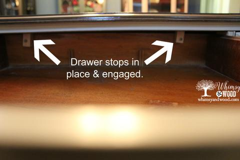 DIY Drawer Stops in place