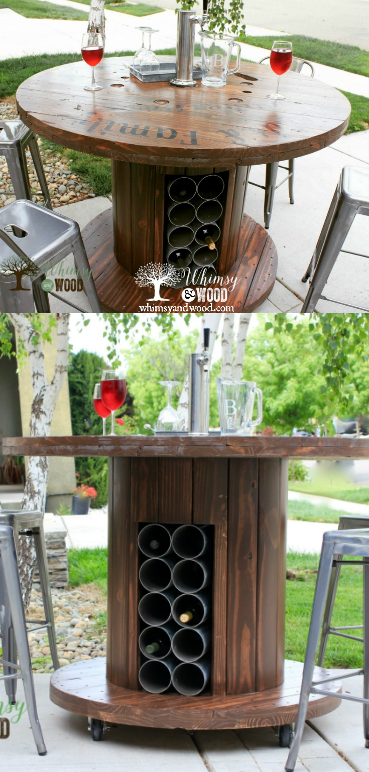 Cable spool was turned into an epic patio bar featuring a Kegerator and plenty of bottle storage! Cable Spool diy, cable spool table.