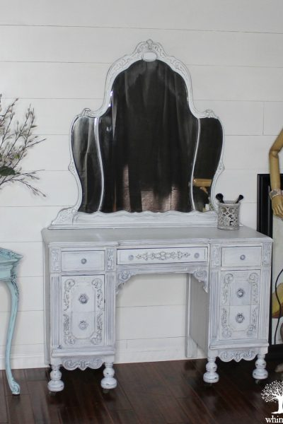 Painted antique vanity white 7