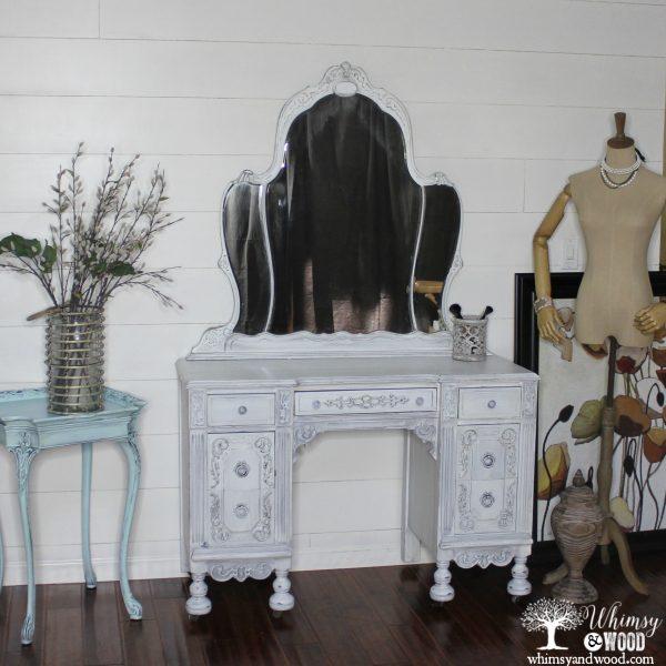 Antique white painted vanity