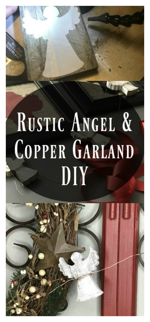 Angels and the holidays go hand in hand. These sweet angels are cut out of fence wood and strung together with copper wire. Check out the details!