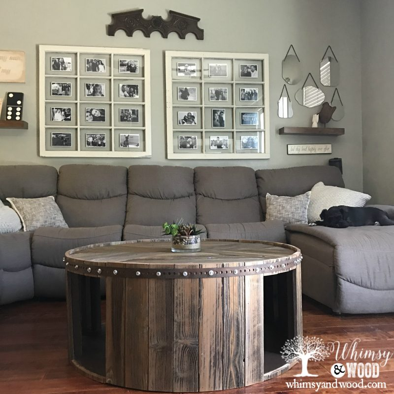 Reclaimed Wood Coffee Table with window picture frame in background