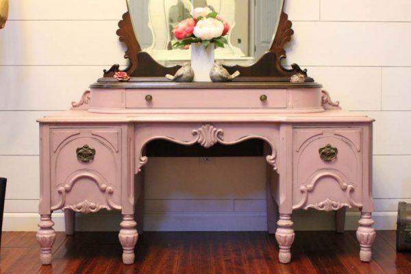 Dusty Rose Painted Vanity-2