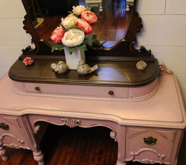 Dusty Rose Painted Vanity-4