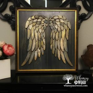 painted scroll saw angel wings with metallic paint accents