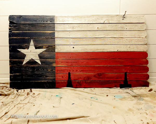TEXAS FLAG PAINTED ON AN OLD FENCE GATE