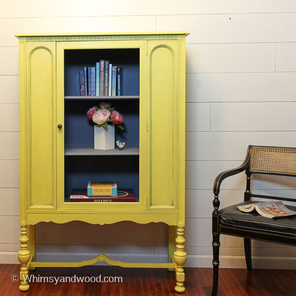 Painted Yellow Antique hutch