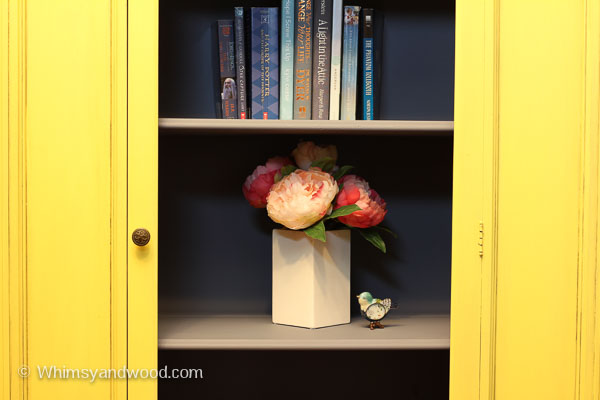Painted yellow hutch interior