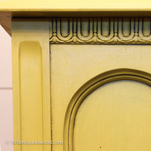 Painted yellow hutch detailing