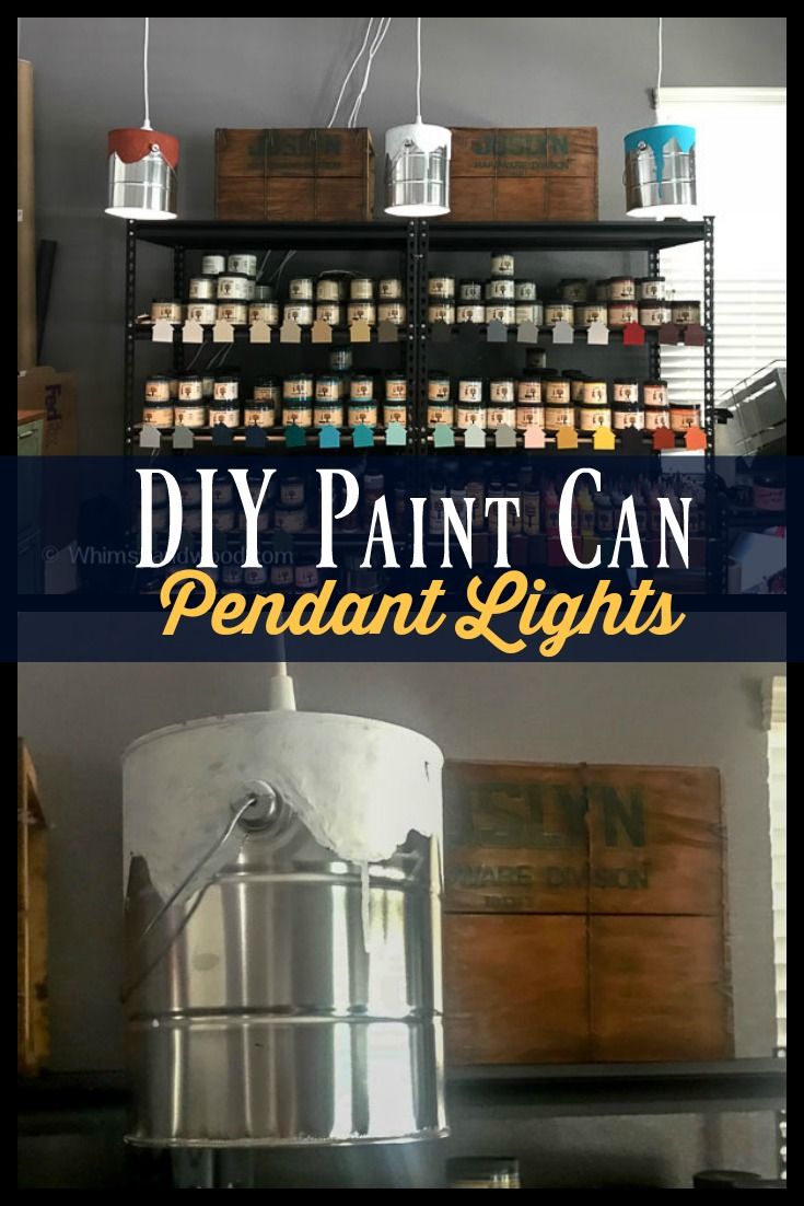 DIY Paint Can Pendant lights. Use in your craft room or retail shop display. Change the look by painting the entire can or creating a patina finish. So many ideas!