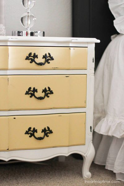 painted yellow furniture drawers-i heart naptime