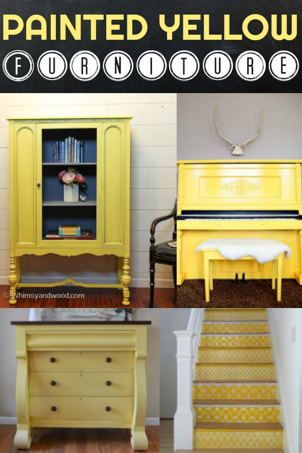 Do you love yellow?  Come see some of our favorite painted yellow furniture pieces! Painted yellow hutch| painted yellow piano|painted yellow dresser|painted yellow armoire|Painted yellow stairs|stenciled stairs|Painted yellow sofa table|painted yellow design|painted yellow barn doors|painted yellow ideas|Painted yellow decor||Krisit kuehl pure home paints|Yellow Chalk paint|yellow furniture paint|