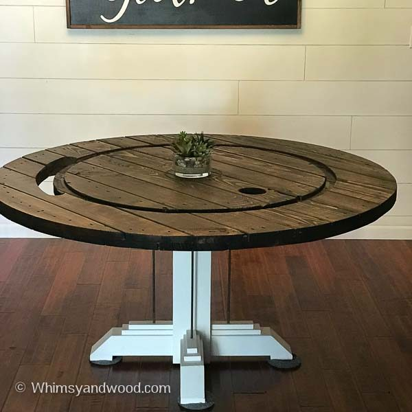 cable spool dining table image of top