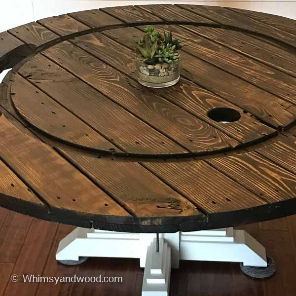 wood graining on cable spool table