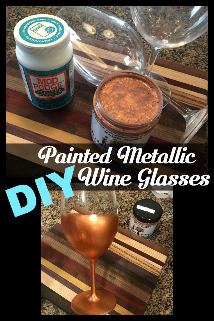 DIY painted wine glasses. Metallic Copper dipped wine glasses, Less than an hour from start to finish with 2 products, dishwasher safe. Wine glasses, painted wine glasses, copper wine glasses, gift for wine drinkers, wino gifts, DIY gift, copper upulence, kristi kuehl pure home paints, non toxic paint, metallic paint,