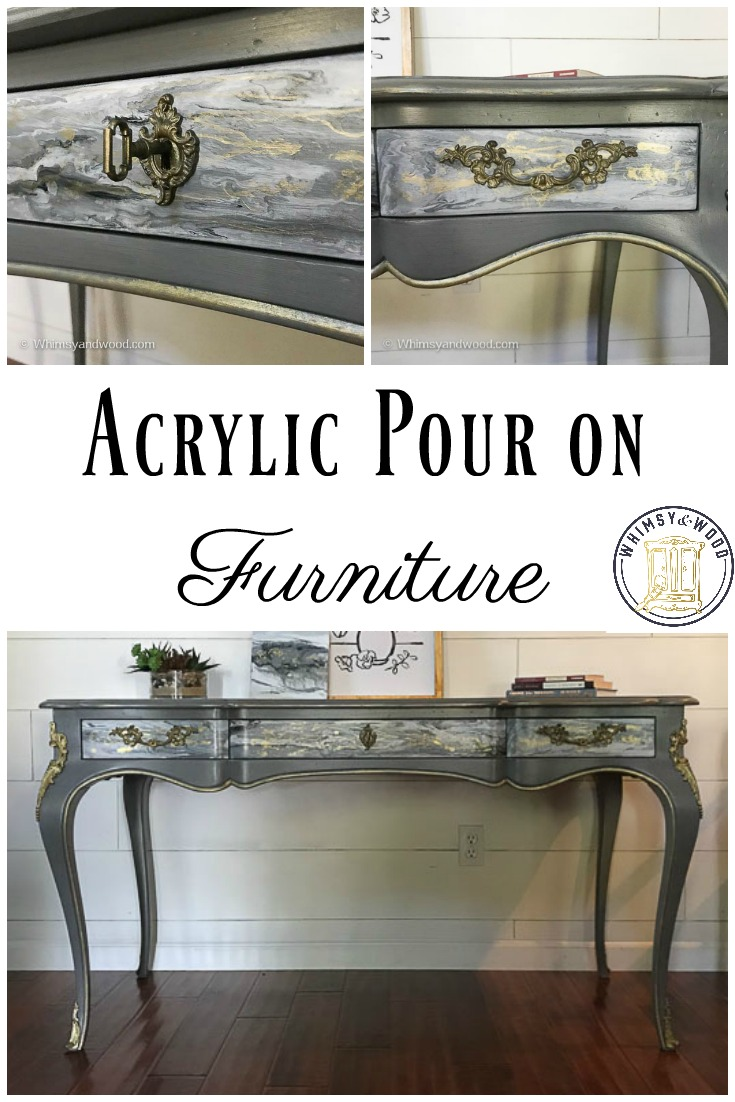 Are you also mesmerized by acrylic pour videos! I decided to do an acrylic pour on these gorgeous desk drawers & drizzled a little gold into the mix. It really came out so beautiful!