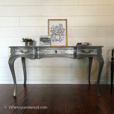 Acrylic Pour on Furniture-Vintage John Widdicomb Desk