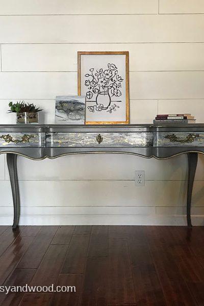 Acrylic Pour on Furniture-Vintage John Widdicomb Desk