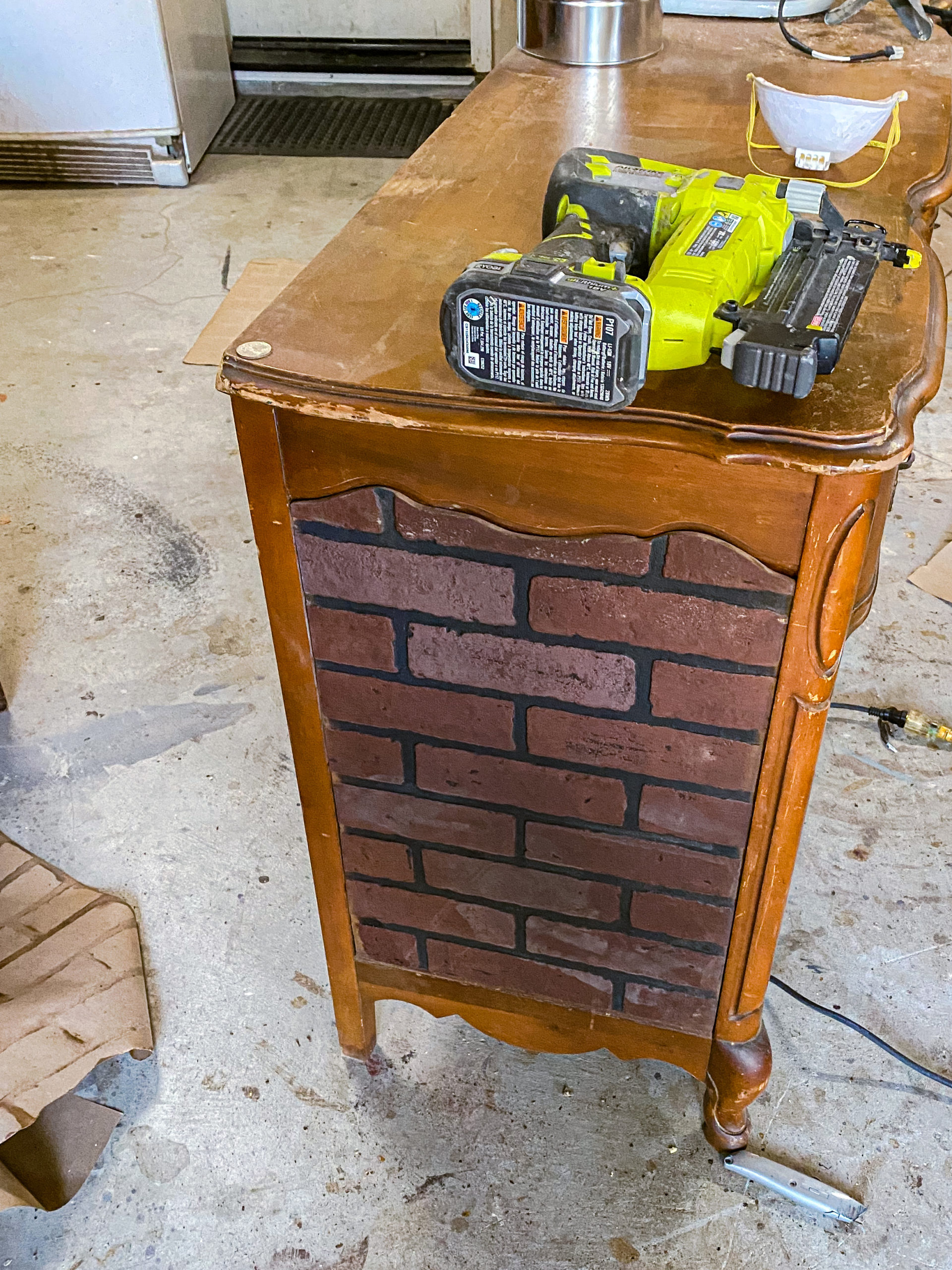 Dry fit and glueing Industrial farmhouse brick buffet