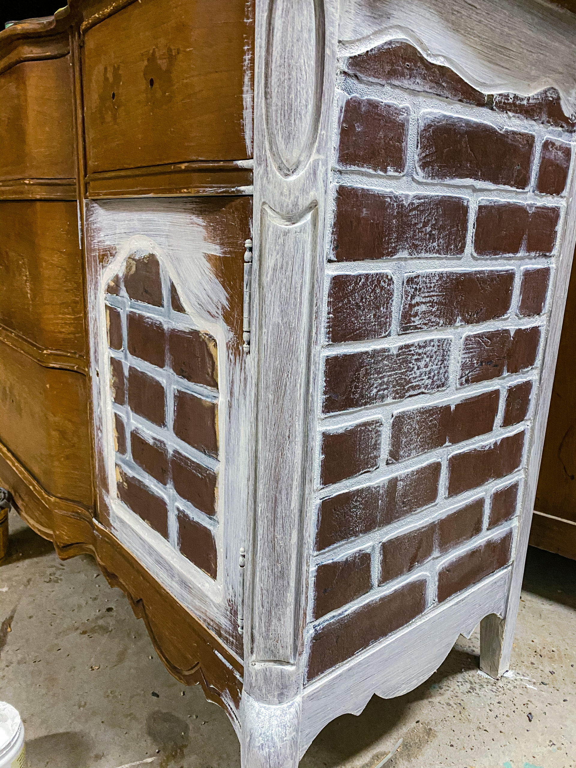 painted grout Industrial farmhouse brick buffet