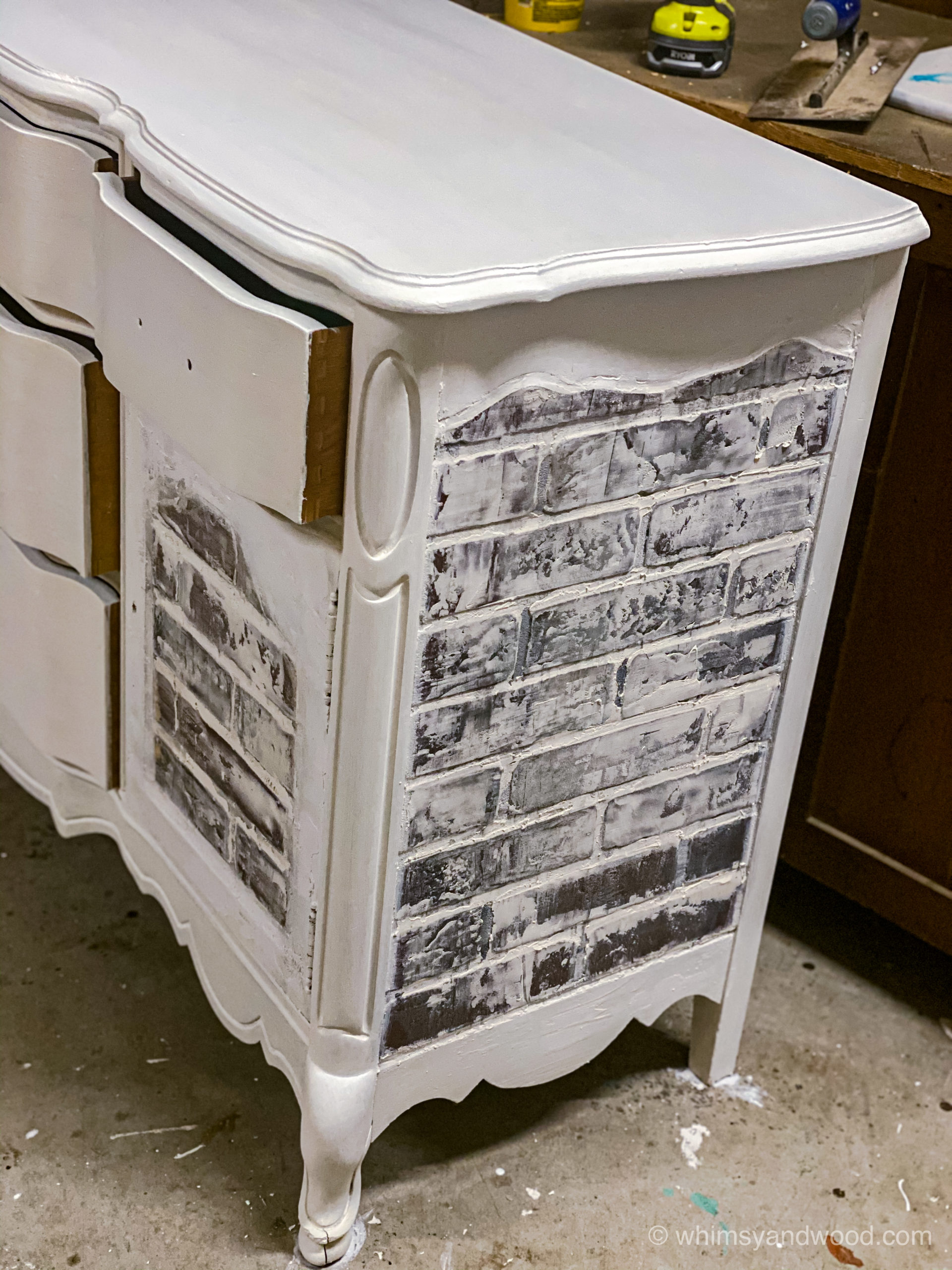 finished brick and white paint- Industrial farmhouse brick buffet