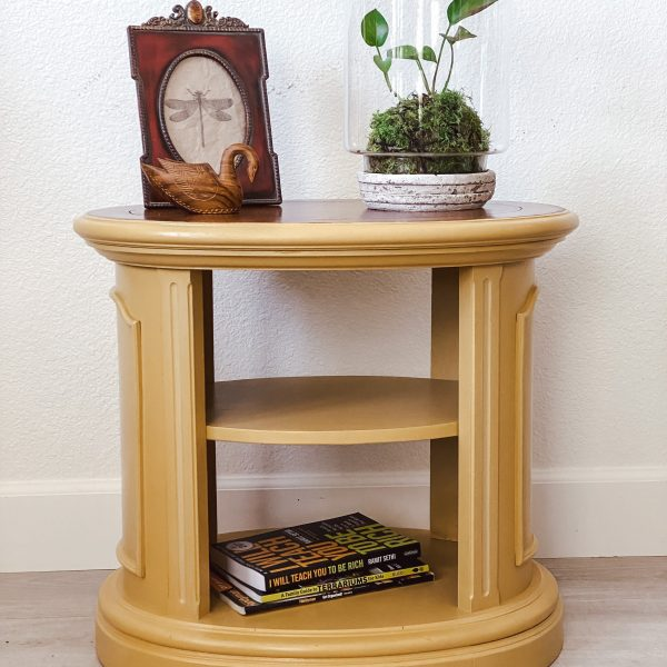 Fun Golden Yellow Oval side table for sale